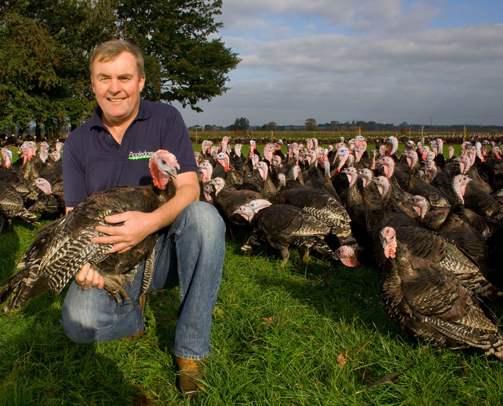 Andrew Wreathall with turkeys